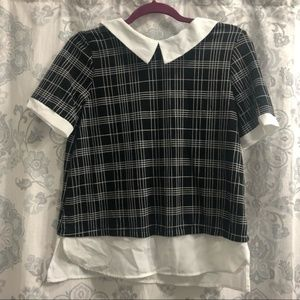 Monteau Collard Black and White Top